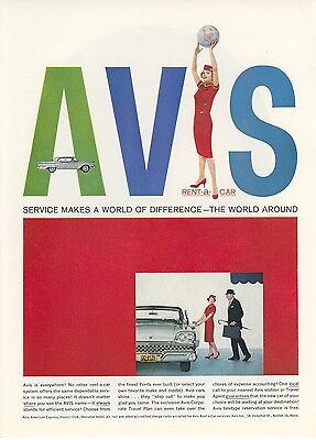 1959 Avis Rental Car Ad Ford Mid Century Modern Style Design Graphics