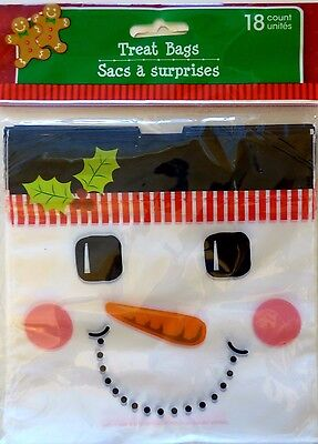 New CHRISTMAS CELLO PARTY GIFT BAGS 18 Count TREAT BAGS with Drawstring ~SNOWMAN