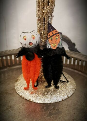 Vintage Style Halloween White Pumpkin Man & Wicked Witch Chenille Ornaments