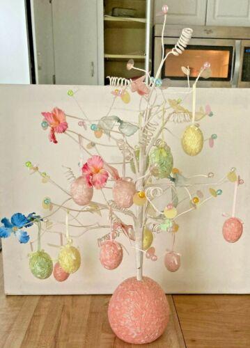 "Vintage Beaded Easter Tree w/ 12 Ornaments 20"""