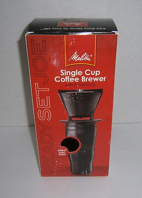 New in Box Melitta Coffee Maker Single Cup Brew w/ Black Travel Mug + Filters (Coffee Filters Melitta Single Cup)
