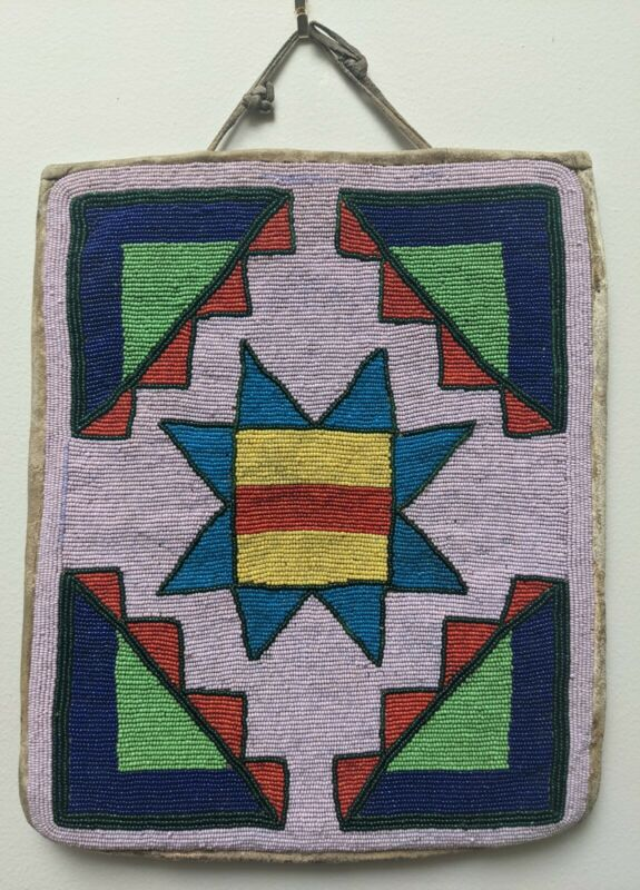 Plateau Native American Beaded Bag circa 1910-20s. Geometric Rare Background