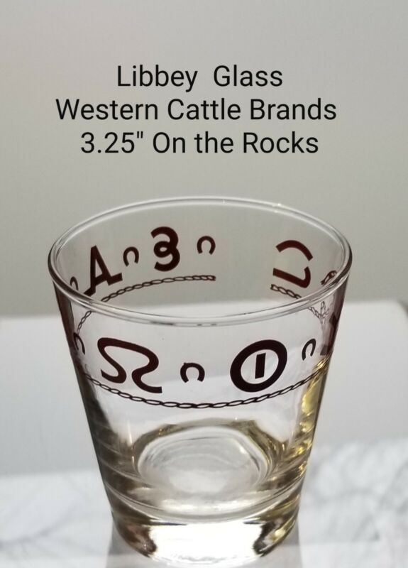 Vintage LIBBEY Glass Western Cattle Brands  On-the-Rocks Old Fashioned  3.25""