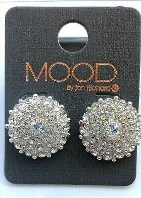 "Jon Richard ""Mood"" Silver Metal & Diamante pierced. Earrings. Bnwt. Bridal?"