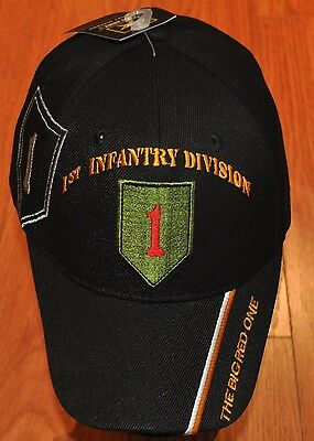 Black 1st First Infantry Division Army Hat Baseball Ball Cap Veteran Licensed