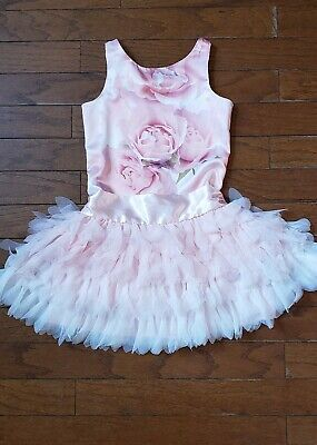 Biscotti Sleeveless Pink Floral Roses Soft Tulle Ruffles Dress Size 10 Girls Biscotti Pink Dress