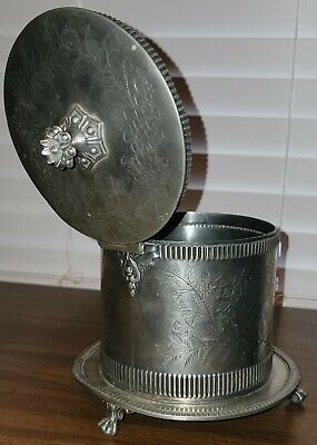 Antique 19th C English Pewter Footed Biscuit Box on Stand; c 1850-1865