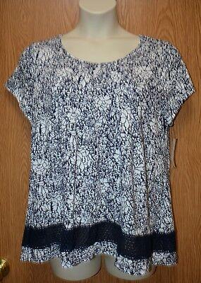 Womens Navy White Floral Lace Charter Club Cap Sleeve Shirt Size 1X NWT (Club Womens Cap Sleeve T-shirt)