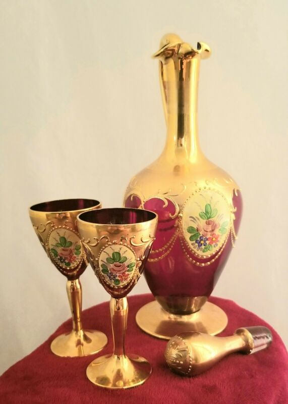 Murano ruby glass Decanter And Glasses Antique