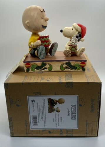 """Charlie Brown & Snoopy """"HOT CHRISTMAS COCOA"""" Figure Jim Shore PEANUTS New"""