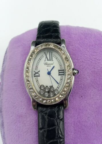 CHOPARD HAPPY SPORT OVAL leather band floating diamonds