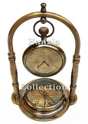 Nautical Antique Brass Desk Clock With Marine Compass Vintage Collectible Decor