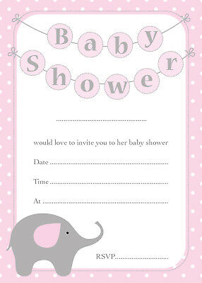 Elephant Themed Baby Shower Invitations (Baby Shower Invitations - 16 A6 Cards - PINK Elephant Theme - Girls Party)