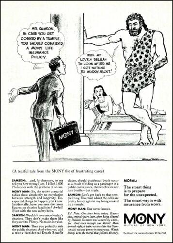 1968 Samson & Delilah MONY mutual of new york vintage art print ad ads38