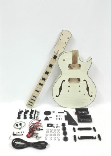 Set Neck Electric Guitar DIY Kit,Semi-Hollow Body,No-Soldering E-239 DIY SMB