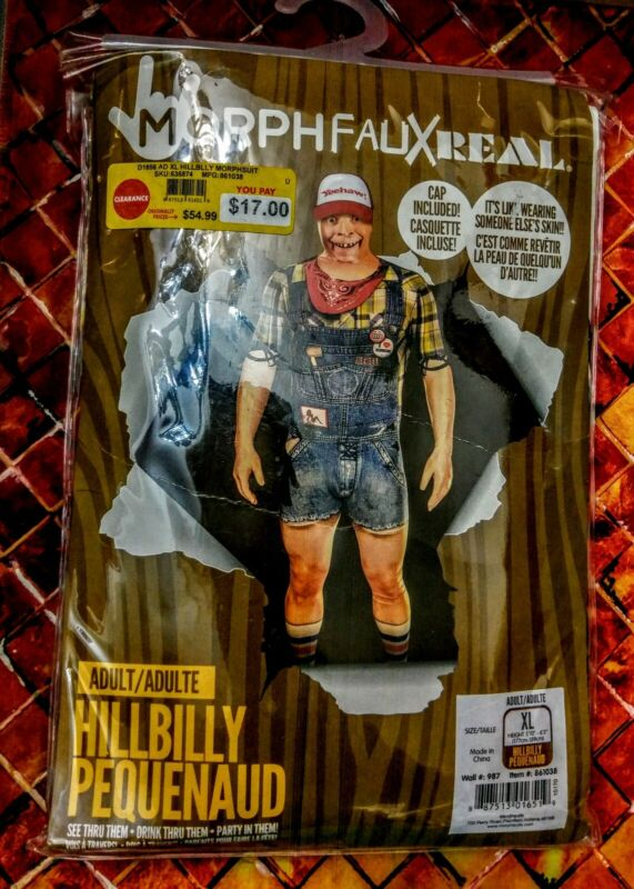 MorphFauxReal,Adult HILL BILLY MORPH SUIT COSTUME,FULL SKINoutfit+CAP was $54.99
