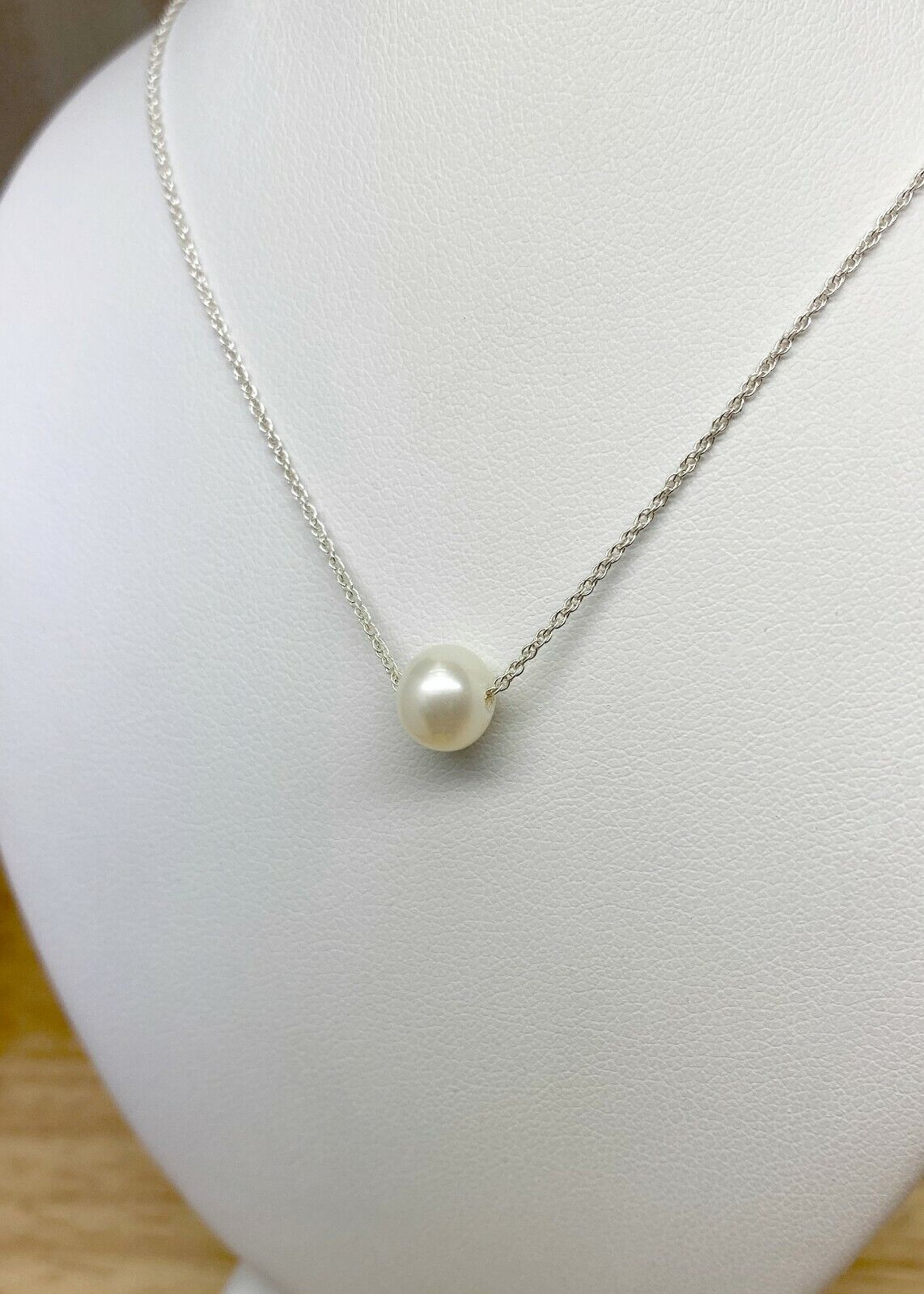 Pearl necklace freshwater semiround AA grade pearl with 925 sterling silver ro