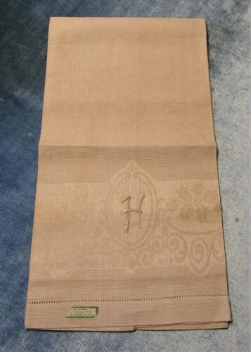 Antique Irish Linen Damask Towel H Monogram Holly Pattern Hemstitched Never Used