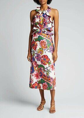 "NTW ZIMMERMANN ""The Lovestruck Tie Back Midi"" Paisley Floral Linen Size 8 $850"