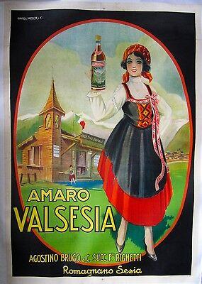"""Vintage Italian Poster on Linen """"Amaro Valsesia"""""""