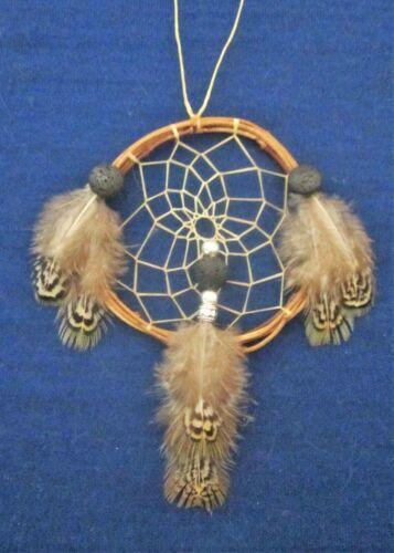 """Native American Made Dreamcatcher Pheasant Lava Rock 3.5"""" Bellamino Acoma Pueblo"""