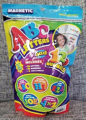 "50pc Fridge Magnet ABC's & 123's -34 letters, 20 number,6 math symbols 1.5""x1.5"""