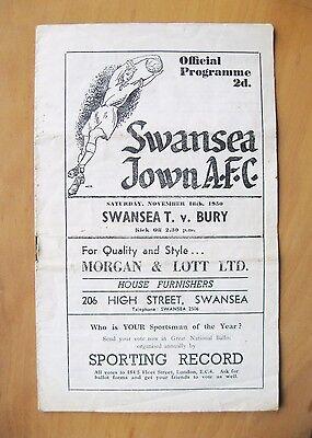 SWANSEA TOWN v BURY 1950/1951 *Good Condition Football Programme*