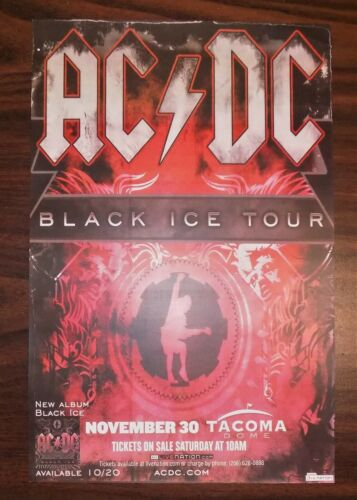 Vintage AC/DC CONCERT POSTER - BLACK ICE TOUR Tacoma WA 2008 rock music Angus NW