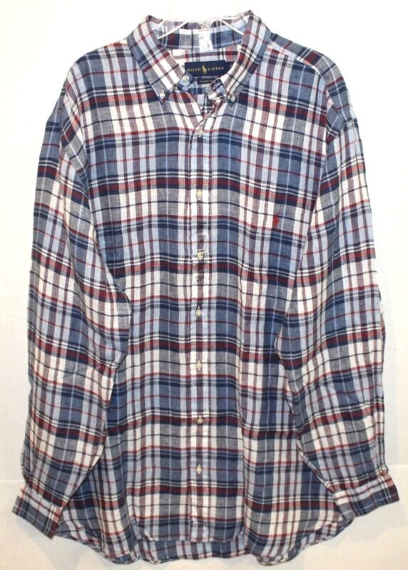 fc10dbcb4 Polo Ralph Lauren Big and Tall Mens Red Blue Plaid 100% Linen Shirt ...