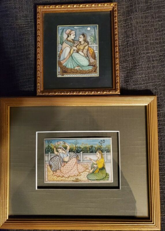 2 Antique Indian Persian Mughal Miniature Paintings on Tile