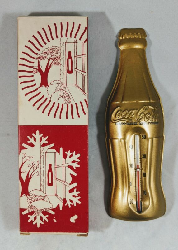 Coca Cola Vintage 1956 Tin Gold Bottle Advertising Thermometer Mint w/Box Rare