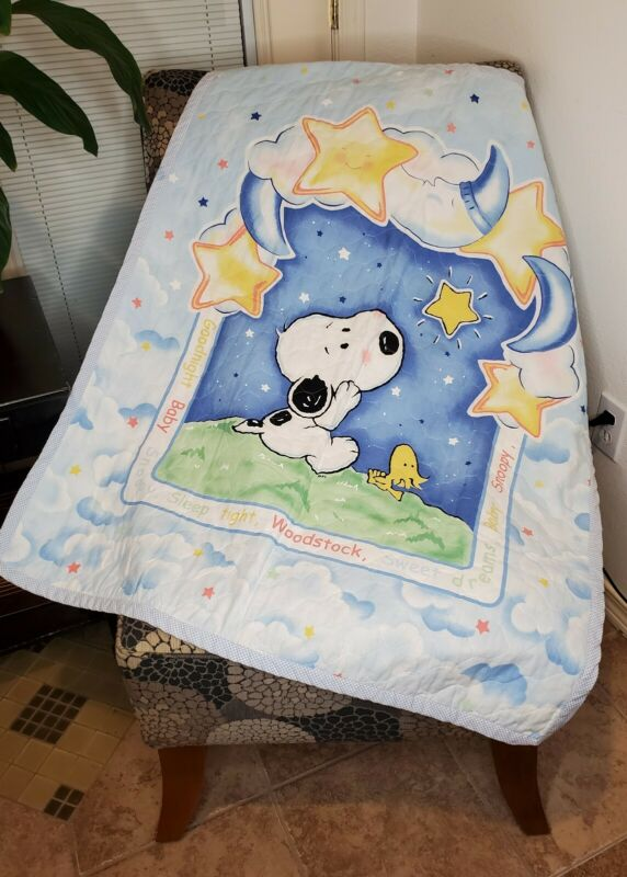 "Little Baby Snoopy Crib Blanket Quilt 33""×42"" Unisex EUC"