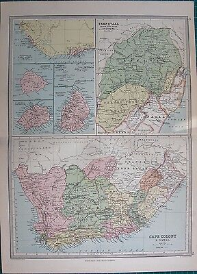 1886 ANTIQUE MAP- TRANSVAAL, CAPE COLONY, MAURITIUS,ASCENSION, ST HELENA
