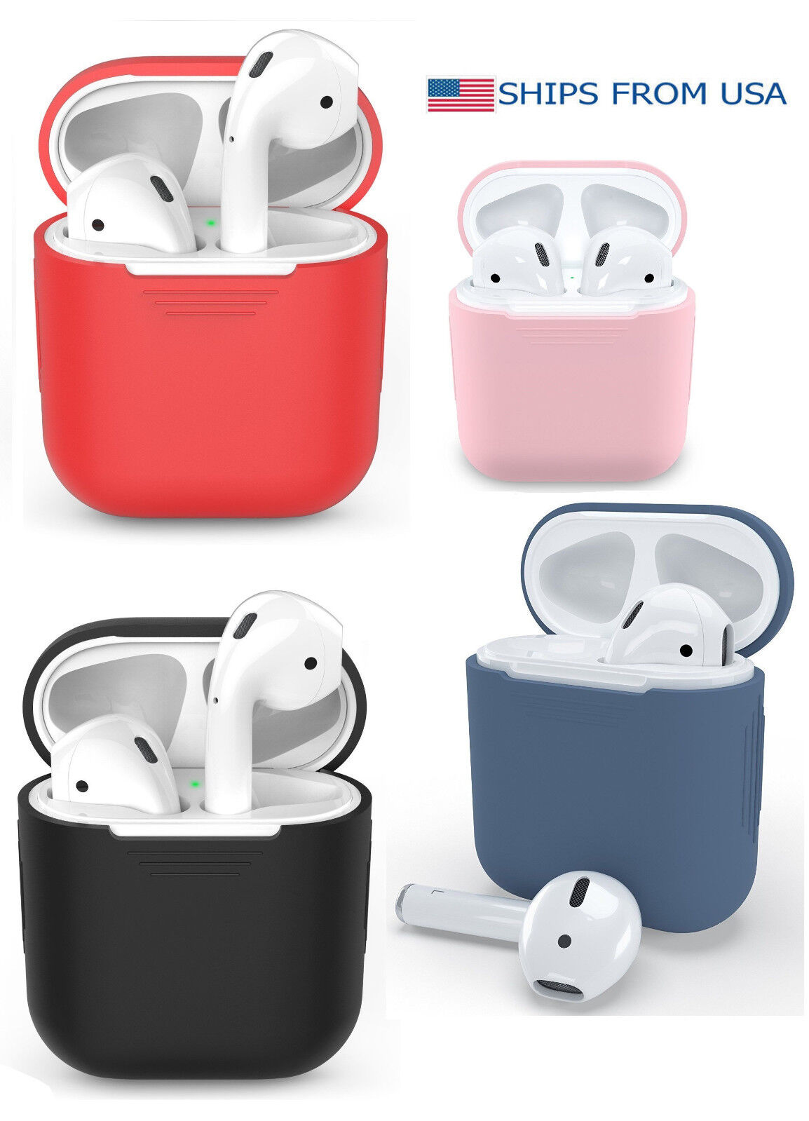 Shockproof Protective Silicone Skin Cover For Apple AirPods Charging Case *New Cases, Covers & Skins