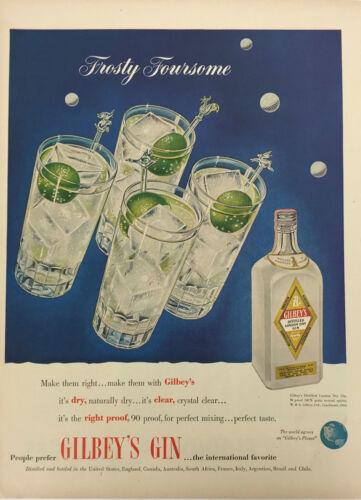 Gilbeys Gin Liquor Magazine Print Ad Vintage Cocktail Drink Alcohol Ice Original