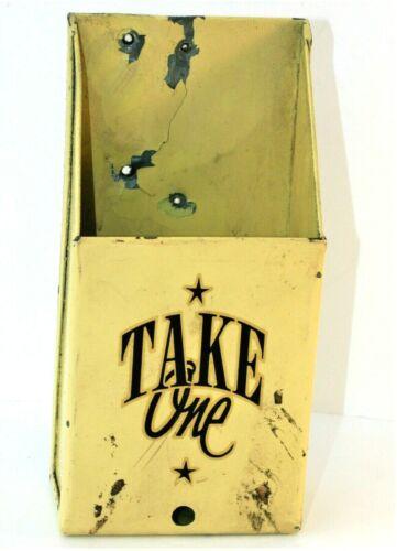 Take One Map Brochure Pamphlet Holder Enameled Metal Wall Mount Display Box Vtg