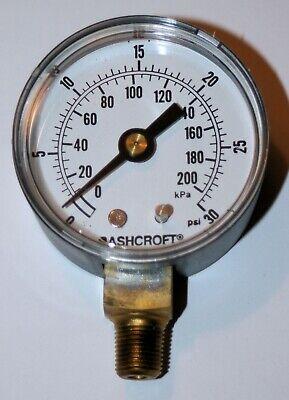 30 Psi Pressure Gauge 2 Dial 18 Npt Ashcroft 20w1005ph 01l 30-agi
