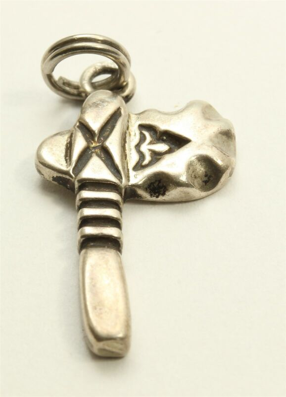 Sunwest Sterling Silver Southwestern Stamped Tomahawk Charm Pendant