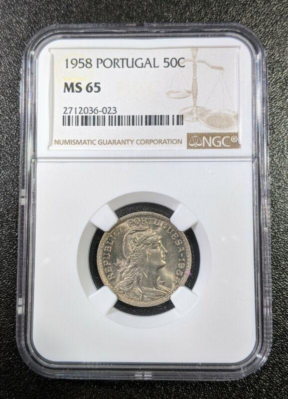 1958 MS65 Portugal 50 Centavos UNC NGC KM# 577
