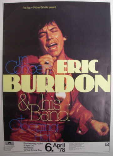 ERIC BURDON BAND CONCERT TOUR POSTER 1978 SURVIVOR THE ANIMALS KIESER