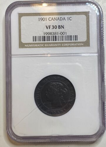 1901 Canada 1C NGC VF30 BN LARGE ONE CENT