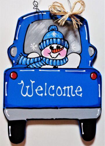 Welcome SNOWMAN Vintage Style TRUCK WALL ART Sign Door Hanger Plaque Wood Decor
