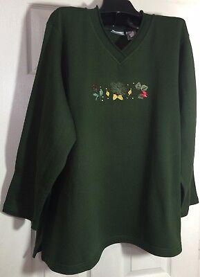 New Chic Plus size 2x women fleece top size V-Neck Green emb