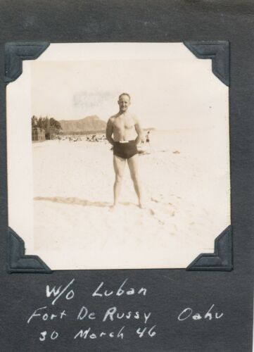 1946  2nd Lt Luban, wife & son at Waikiki Beach, Diamond Head Hawaii  2 Photos