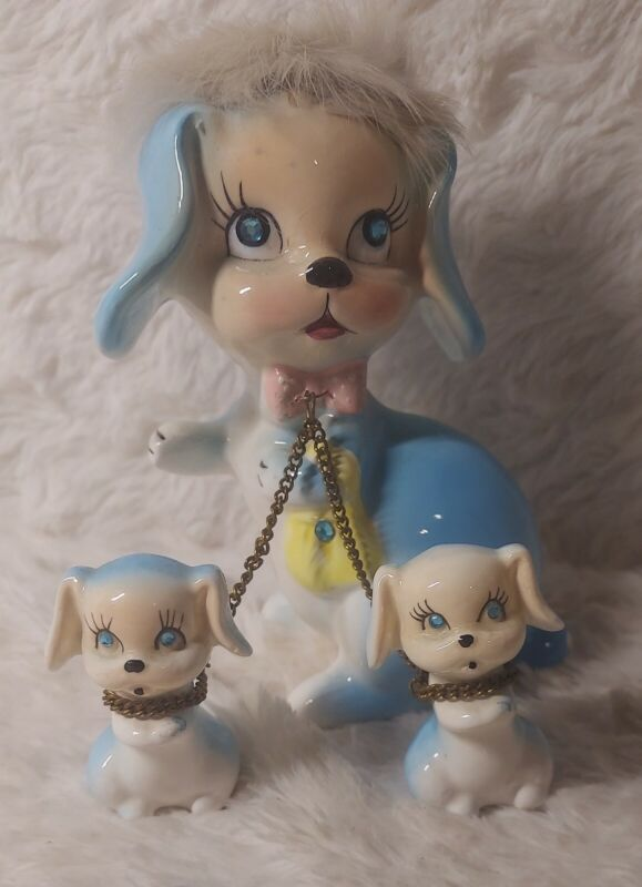 Vintage Kreiss And Co. Blue Lady Dog With 2 Puppies On A Chain Rhinestone Eyes