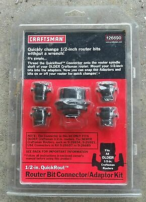 Craftsman 926690 New 12 Inch Router Bit Adapter Kit Change Bits Wo Wrench