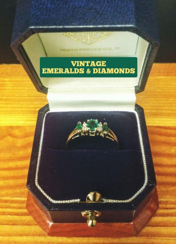 VINTAGE/RETRO EMERALDS & DIAMONDS LADIES 14K YELLOW GOLD RING