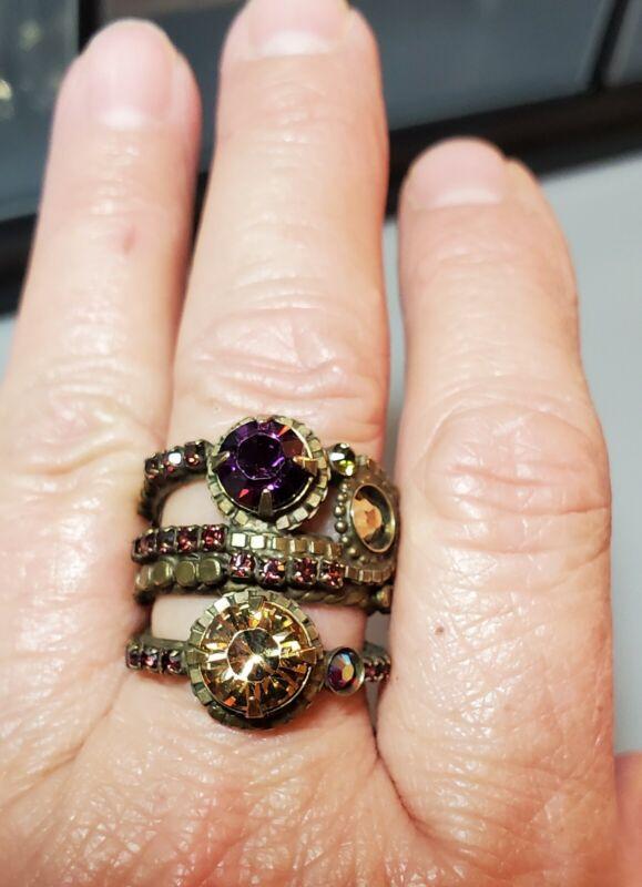 Vintage Sorrelli Purple And Orange Rhinestone Wide Cuff Ring. Size 7.