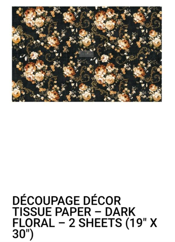 "Brand New Redesign With Prima ""Dark Floral"" Decoupage Tissue Paper"