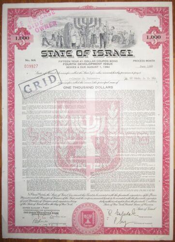 Israel - State of Israel 4% Dollar Bond $1000 1960s with Menorah vignette